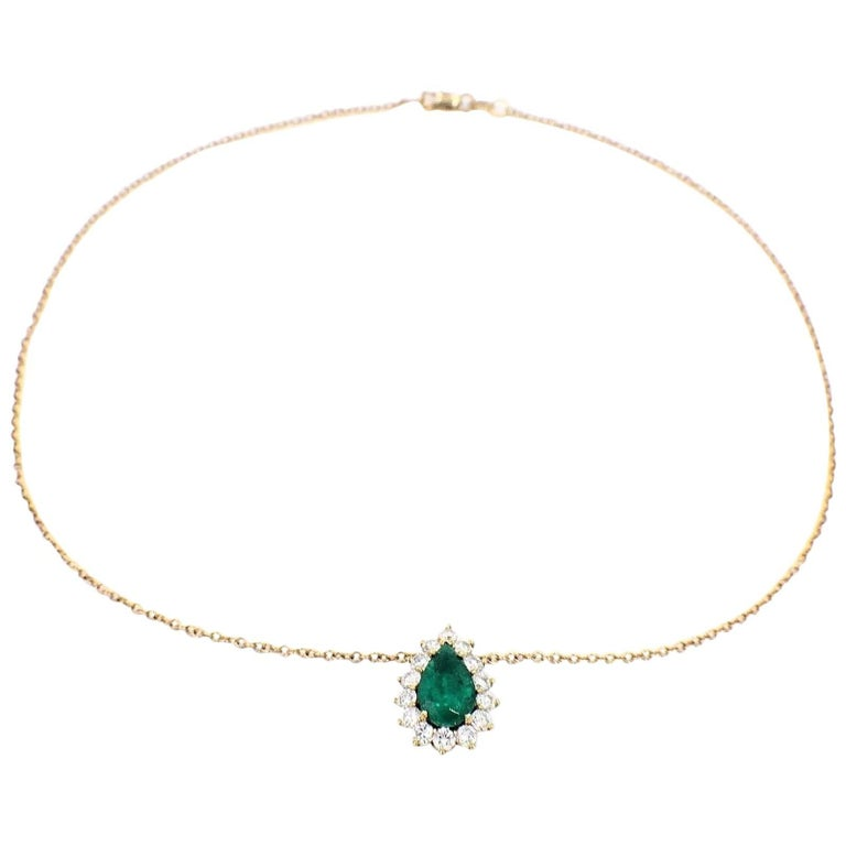 Pear Shape Emerald and Diamond 6.00 Carat Necklace in 18 Karat Yellow Gold