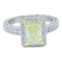 Tacori Fancy Light Yellow 1.98 TCW Diamond Ring in 18k White & Yellow Gold