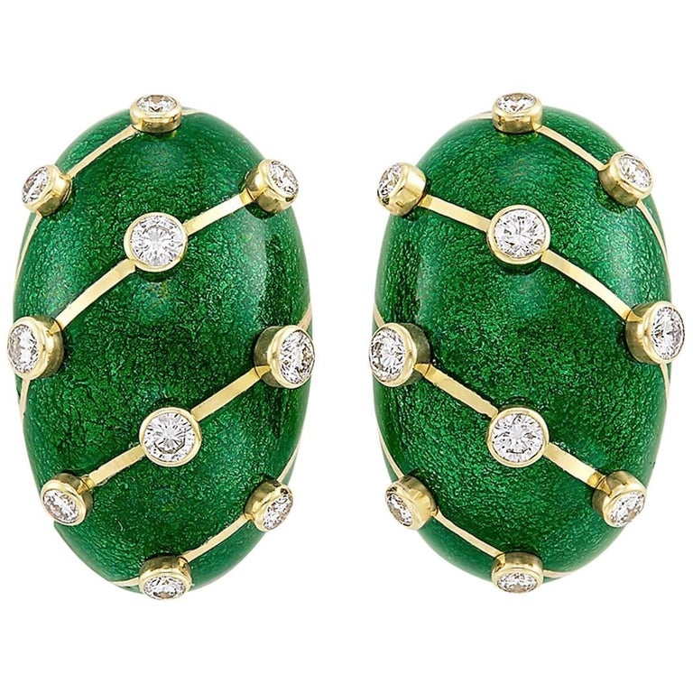 Tiffany & Co. Gold, Green Paillonné Enamel and Diamond Clip-On Earrings