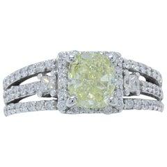 Fancy Yellow Cushion Cut 1.96 Carat Diamond Ring in 14 Karat White Gold GIA