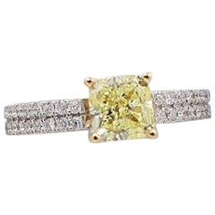 Fancy Yellow Radiant 1.62 TCW Diamond Engagement Ring with Pave Diamond Accents