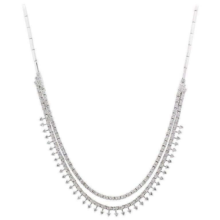 Diamond Two-Strand Solid Link Necklace