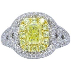 Fancy Intense Yellow 2.33 Carat Diamond Engagement Ring in Platinum with GIA