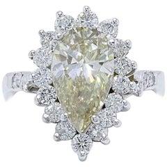 Fancy Brown Pear Shape 3.80 Carat Diamond Engagement Ring in 14 Karat White Gold