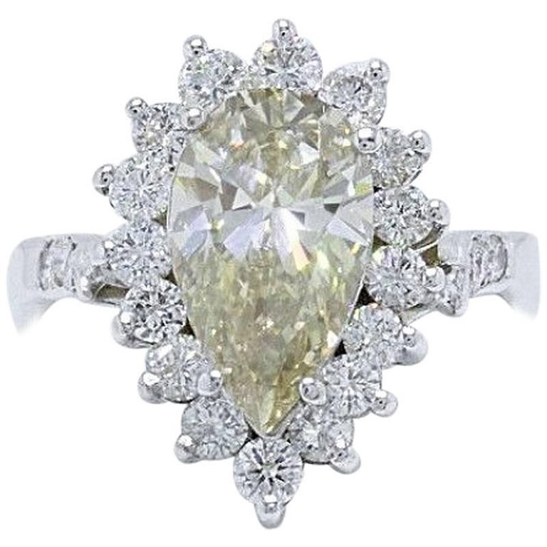 Fancy Brown Pear Shape 3.80 Carat Diamond Engagement Ring in 14 Karat White Gold For Sale