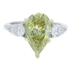 Fancy Yellow Pear Shape Three Stone 3.82TCW Diamond Engagement Ring in 18k GIA