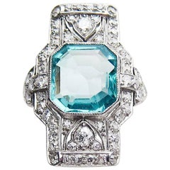 Art Deco 2.85 Carat Natural Emerald and Diamond North-South Cocktail Ring