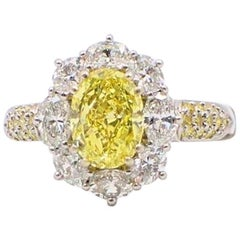 Fancy Intense Yellow Oval 3.69 TCW Diamond Engagement Ring Halo & Diamond Band