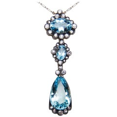 Victorian 16.29 Carat Aquamarine and Old European-Cut Diamond Drop Pendant