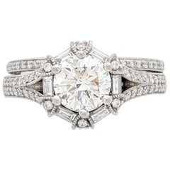 1.10cat. Round Brilliant Cut Natural Diamond Engagement Ring GIA Certified SI2/I