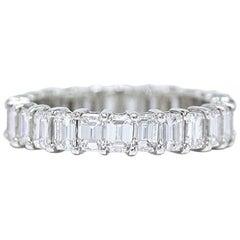 Emerald Cut 4.01 Carat Diamond Eternity Band Ring in Platinum