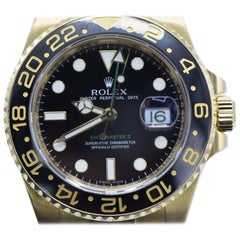Rolex Yellow Gold Ceramic GMT Master II Wristwatch