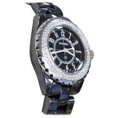 Chanel Black Ceramic J12 H0949 Original Diamond Bezel