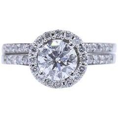 Tolkowsky Ideal Cut Round 1.54 Carat Diamond Band Ring in 14 Karat White Gold