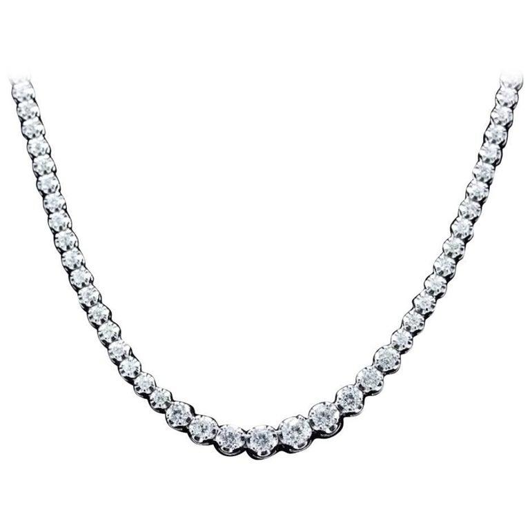 Riviera Graduated Round Diamond Necklace 4.87 Carat in 14 Karat White Gold