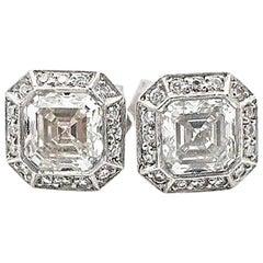 Daniel K Diamond Earrings 1.36TCW Square Emerald & Round 18k Gold & Platinum