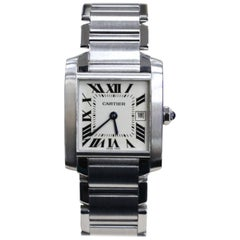 Cartier Tank Franchise Midsize 2465 Stainless Steel Complete Box and Papers