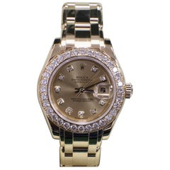 Rolex Ladies Diamond Pearlmaster Masterpiece 80298 18 Karat Gold Box and Papers