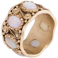 Opal Eternity Ring Vintage 14 Karat Yellow Gold