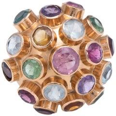 Sputnik Gemstone Domed Cocktail Ring Vintage 18 Karat Rose Gold