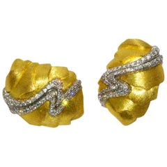 Unusual Henry Dunay Gold and Diamond Sabe Earrings