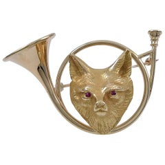 Gold and Ruby Fox Pin