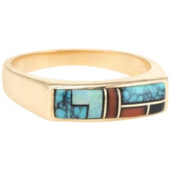 Inlaid Gemstone Ring Vintage 14 Karat Yellow Gold Stacking