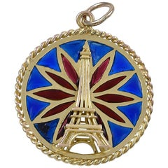 French Plique a Jour Eiffel Tower Gold Charm