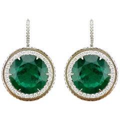 39.53 Carat Emerald and Diamond 18 Karat Dangle Earring