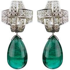 67.95 Carat Emerald Drop and Diamond 18 Karat Gold Dangle Earrings