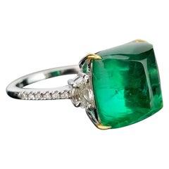 9.43 Carat Sugarloaf Shape Emerald and Diamond Three-Stone Ring