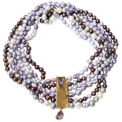 Freshwater Pearls Necklace Gold Amethyst