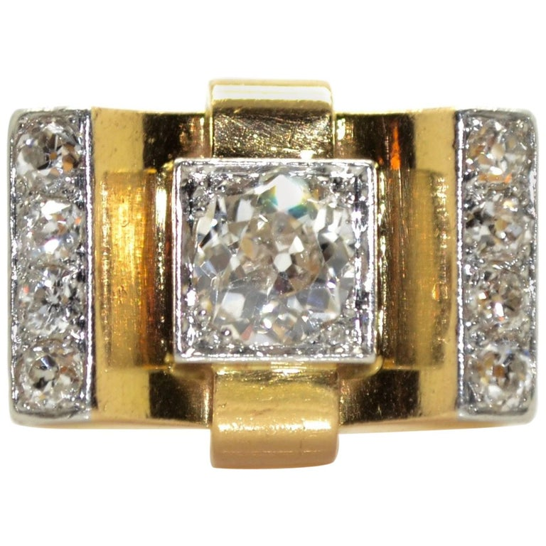 1940s French  Diamond 18 Karat Yellow Gold and Platinum Tank Ring