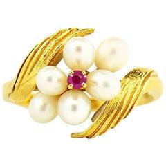 Vintage Mikimoto Akoya Pearl and Ruby Ring in 18 Karat