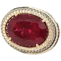Rubelite Diamond Ring in 18 Karat Rose Gold
