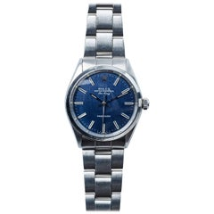 Rolex Stainless Steel Air-King Blue Linen Dial Automatic Wristwatch, 1970s