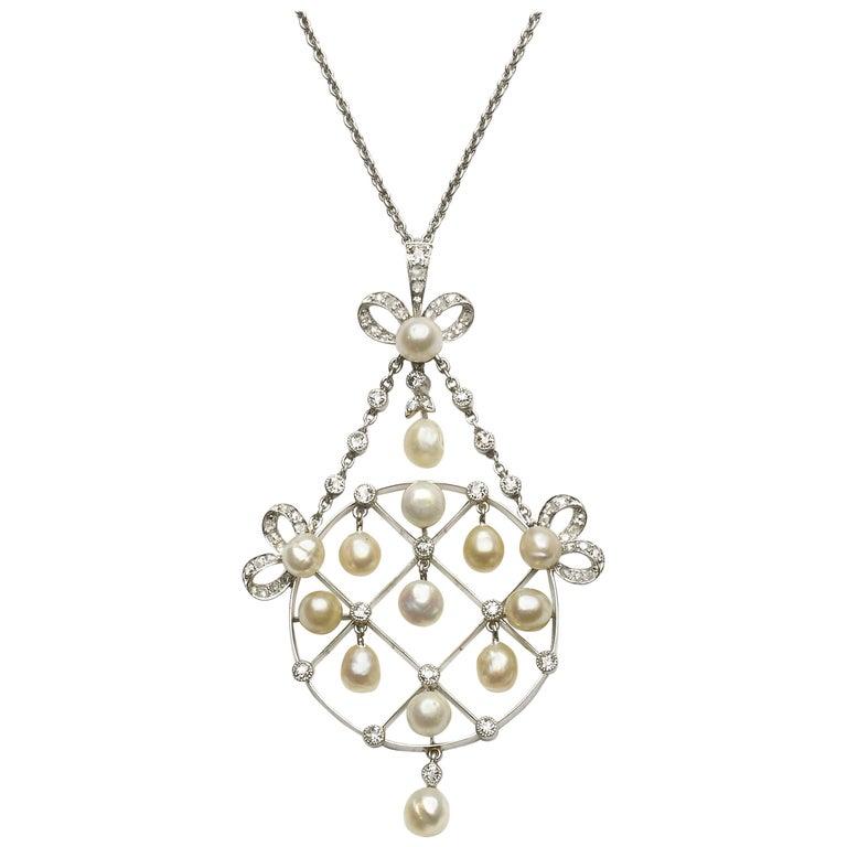 Diamond and Natural Pearl Pendant