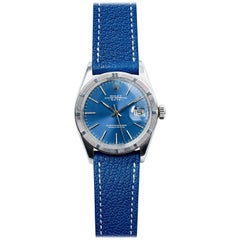 Rolex Stainless Steel Oyster Perpetual Blue Dial Date Automatic Wristwatch