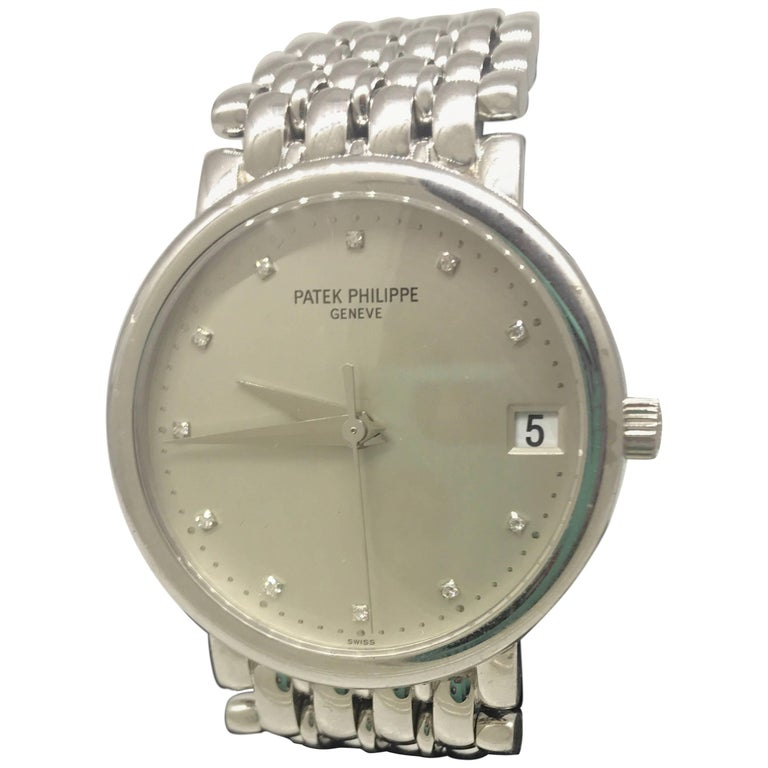 Patek Philippe Calatrava Gold Silver Diamond Dial Bracelet Men's Watch 3998