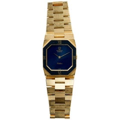 Rolex Yellow Gold Cellini Geometric Stone Dial Manual Wind Wristwatch