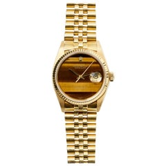 Rolex Yellow Gold Tiger's Eye Dial Datejust Automatic Wristwatch, 1980s