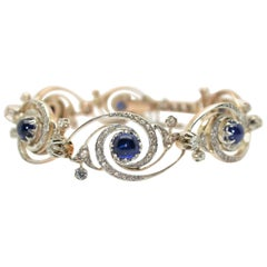 1900s French Art Nouveau Platinum 18 Karat Gold and Sapphire Diamond Bracelet
