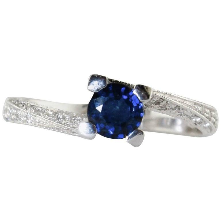 Diamond Sapphire White Gold Ring