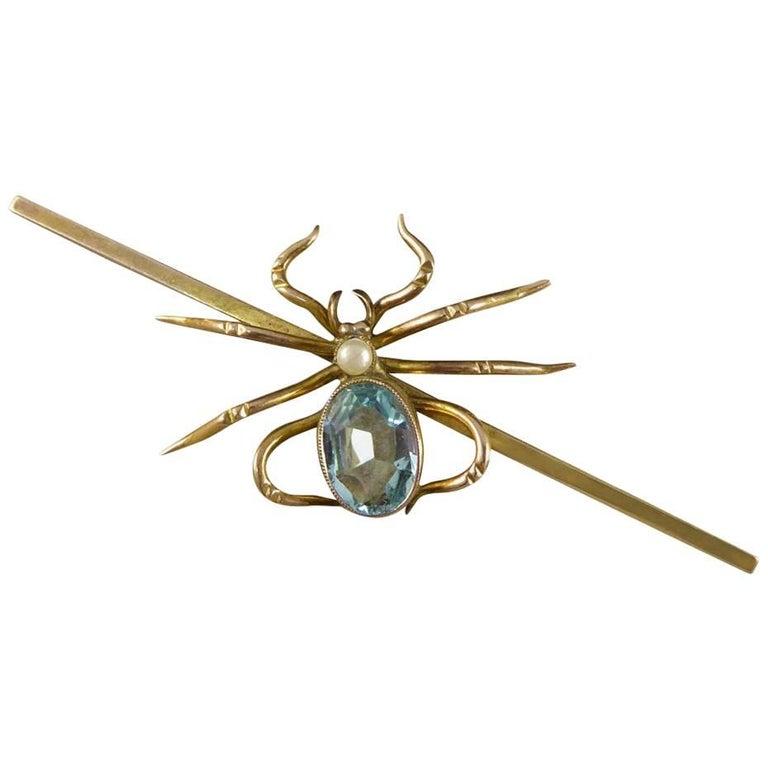 Antique Aquamarine Pearl Spider Brooch
