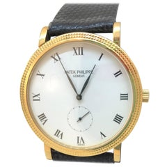 Patek Philippe Calatrava Yellow Gold White Dial Leather Band Men's Watch 3119J