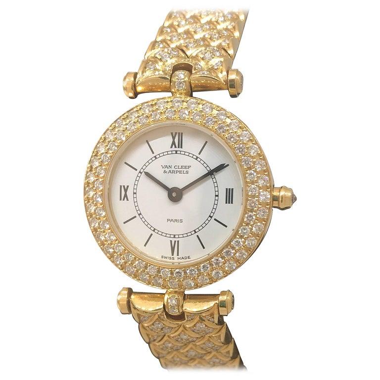 Van Cleef & Arpels Classique Yellow Gold Diamond Bezel and Bracelet Ladies Watch