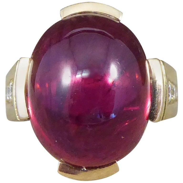 Cabochon Tourmaline and Diamond 18 Carat Yellow Gold Ring