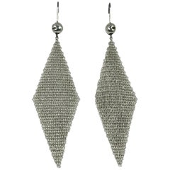 Tiffany & Co. Elsa Peretti Sterling Silver Mesh Handkerchief Earrings