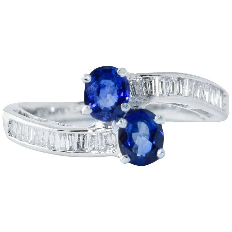 Diamonds Sapphires White Gold Ring