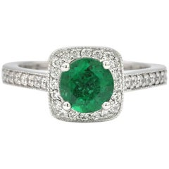 Round Emerald Halo Ring 1.25 Carats AGL Certificate 14 Karat White Gold Ring